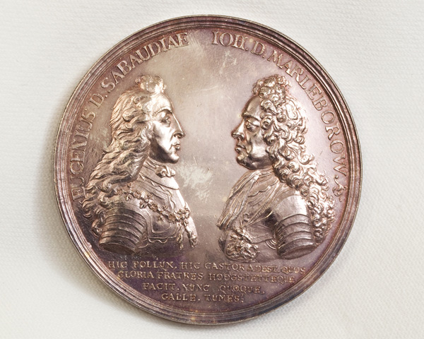 Silver medal commemorating the Battle of Blenheim and depicting Prince Eugen and the Duke of Marlborough, 1704