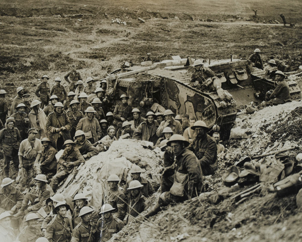 A Mark I tank surrounded by troops of 122nd Brigade, 17 September 1916