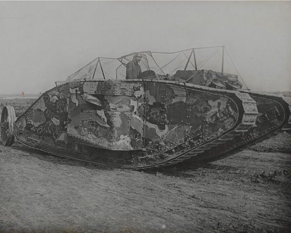 Mk 1 tank during training at Elveden, Suffolk, 1916