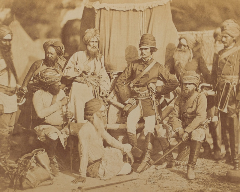 Sikh and British officers of Hodson's Horse during the Indian Mutiny, 1858