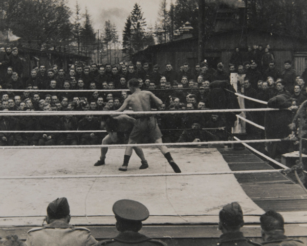 Allied prisoners of war watch a boxing match at Stalag VIIIB (344), near Lamsdorf, c1943