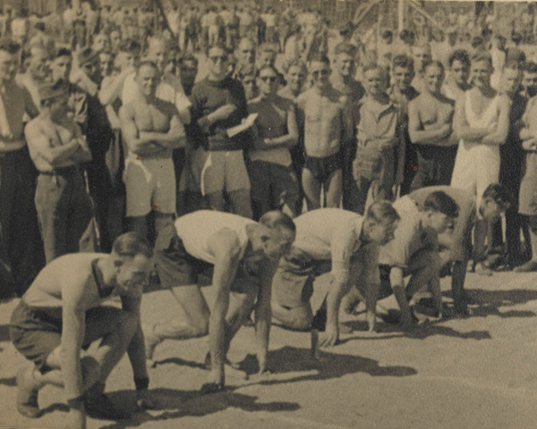 Regimental sprint race at Stalag XXB in Marienburg, Germany, 1941
