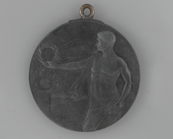 Athletics medal awarded to Lieutenant A Fry of the 4th Australian Pioneer Battalion when he was incarcerated at Freiburg-im-Breisgau camp in Germany, 1918