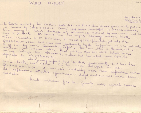 War Diary of Nos. 2, 3 and 4 Sections, C Company, Machine Gun Corps (Heavy Section), 15 September 1916