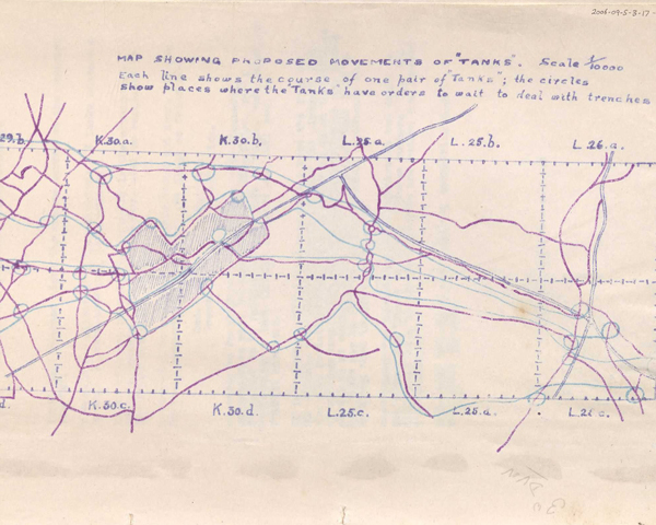 Map showing planned tank routes for the Battle of Ancre, November 1916