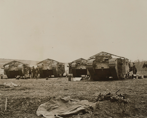 Mark I tanks in Chimpanzee Valley prior to going into action at Flers-Courcellette, 15 September 1916