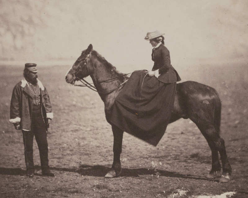 Fanny Duberly on horseback during the Crimean War, 1855
