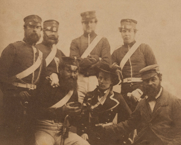 British soldiers with a cantinière in Crimea, 1855.