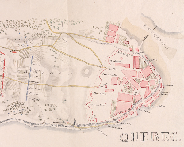 Watercolour map of Quebec, 1759