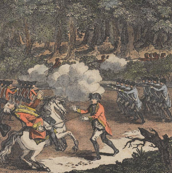 The defeat of General Braddock at Monongahela, 1755