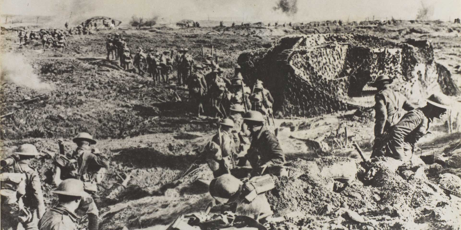 Camouflaged tanks and infantry at the Battle of Polygon Wood, 26 September 1917