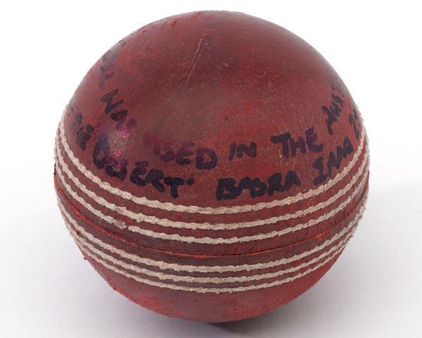 Cricket ball used in the 'Ashes in the Desert' between Australian and British troops, 2006