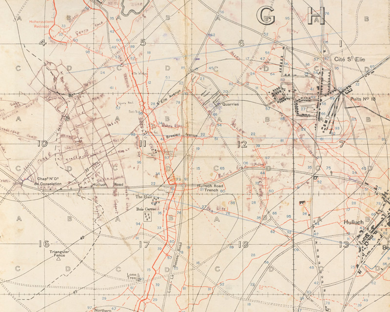 This trench map shows 7th Division frontage of attack at Loos. It was used during the battle, 1915.