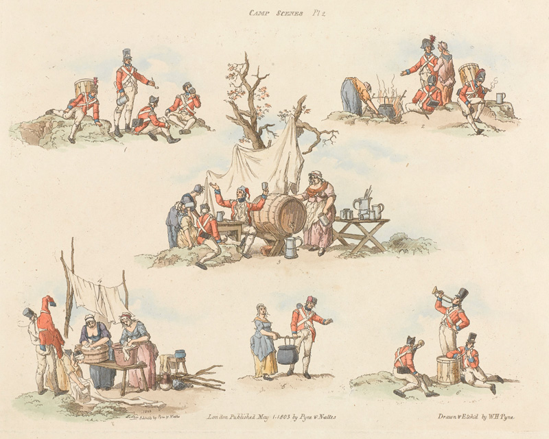 These 1803 etchings show women washing, cooking, serving beer and travelling with soldiers, but also revelling with them