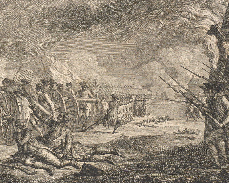 This French print shows British troops fleeing from the American militia, 1775
