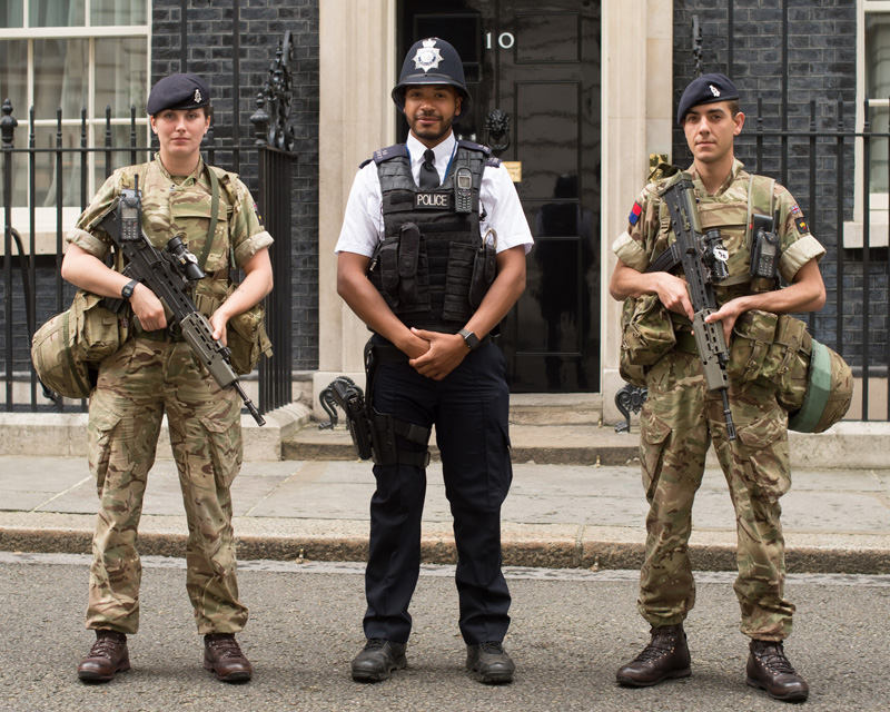 Soldiers of The King's Troop, Royal Horse Artillery, perform security duties at 10 Downing Street during Operation Temperer, 2017