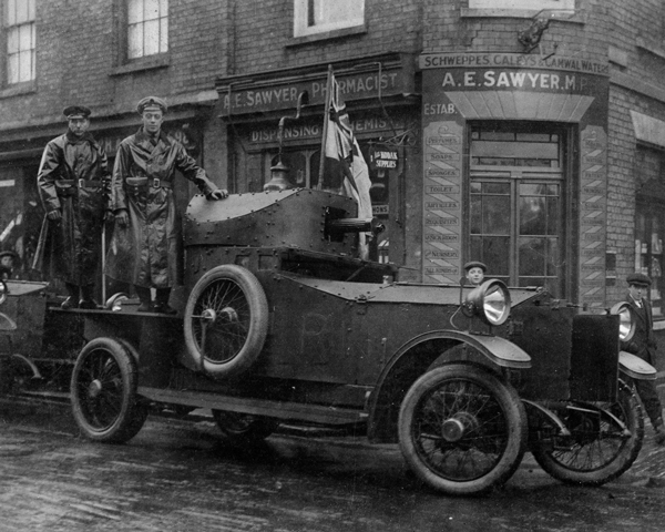 The RNAS was responsible for the earliest forays into mechanised warfare in the form of the RNAS Armoured Car Section, 1914