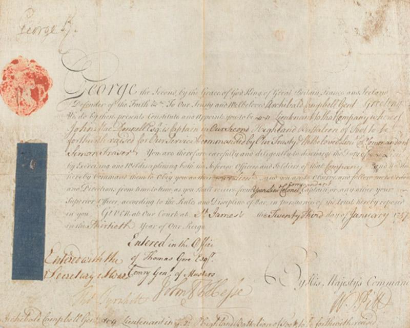 Commission in the 78th Fraser Highlanders of former Jacobite Archibald Campbell of Glenlyon, 1757
