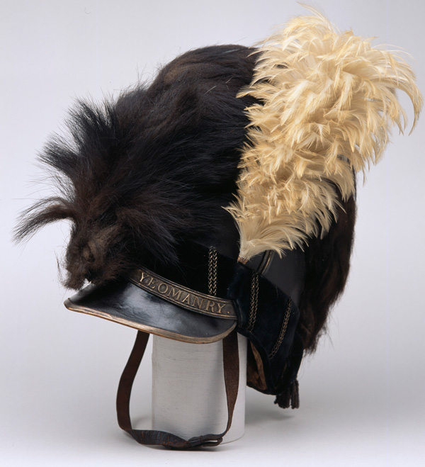 Helmet of the Buckingham Yeomanry Cavalry, inscribed 'Buck's Yeomanry strike home', c1800. Soldiers from the yeomanry acted to deter grain rioters, suppress anti-militia disturbances and disperse mobs during industrial unrest.