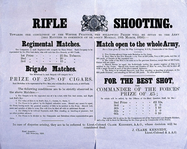 Poster announcing a rifle shooting competition, 1856