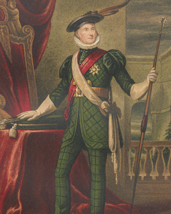 Lord John Hopetoun wearing the uniform of 1822, from James Balfour Paul's 'History of the Royal Company of Archers' (1875)
