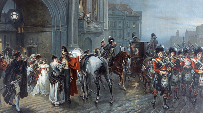 'Summoned to Waterloo' shows British forces departing the Duchess of Richmond's ball to fight at Quatre Bras