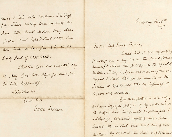 Lieutenant Walter Newman's letter of proposal to Emma Montague Browne, 13 October 1860