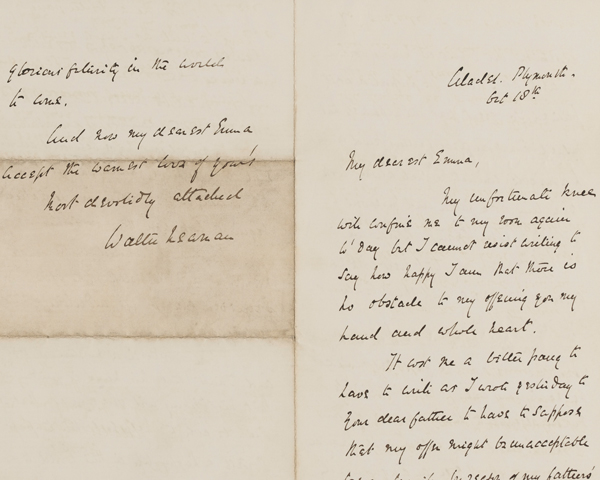 Lieutenant Walter's reply to Emma, after she has agreed to marry him, 18 October 1860