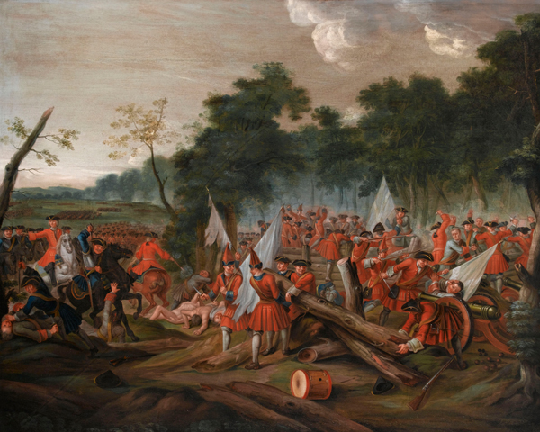 Storming the wooden palisades at the wood of Tanieres, Malplaquet, 1709