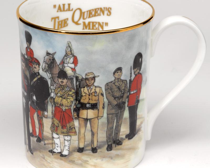 Commemorative mug depicting some of the regiments attending Queen Elizabeth II's Golden Jubilee, 2002