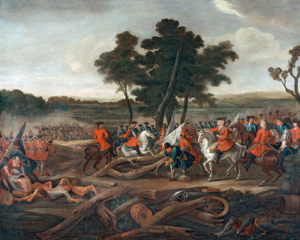 The Duke of Marlborough gives orders to his troops at Malplaquet, 1709