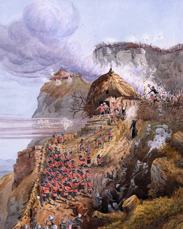 British and Indian troops storm the gateway at Magdala on 13 April 1868