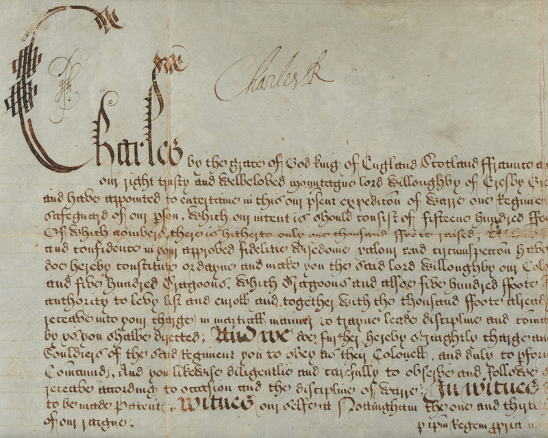 Warrant signed by King Charles I  authorising Lord Willoughby of Eresby to raise the King's Lifeguard, 1642