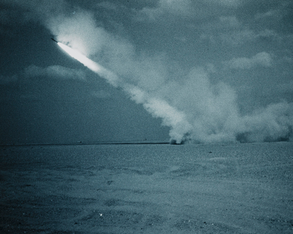 A multi-launch rocket system firing batches of six 227mm anti-tank rockets, 1991