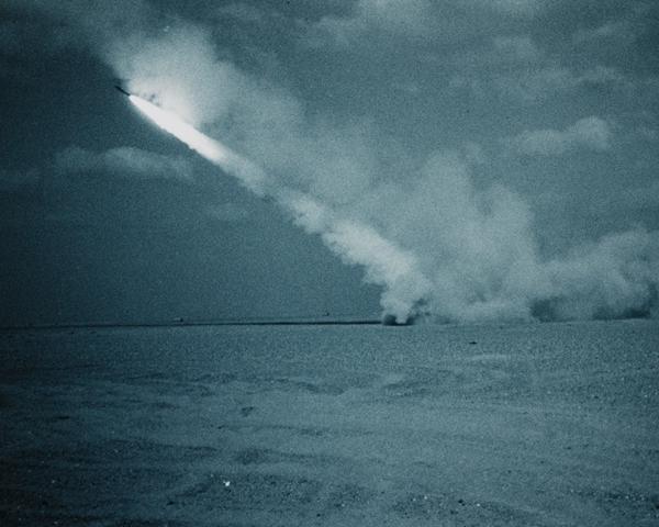 A multi-launch rocket system firing batches of six 227mm anti-tank rockets, 1991