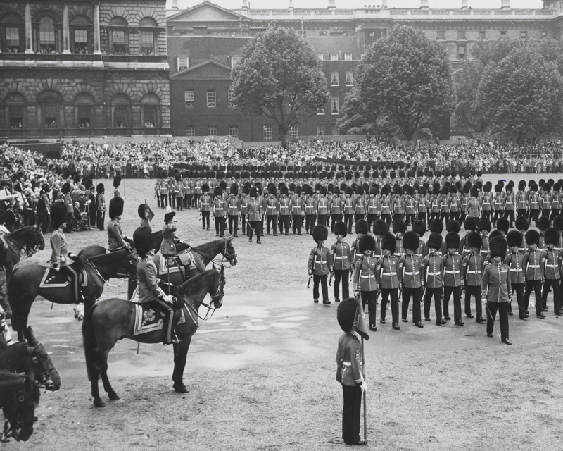 Queen Elizabeth II taking the salute at Trooping the Colour, 1960