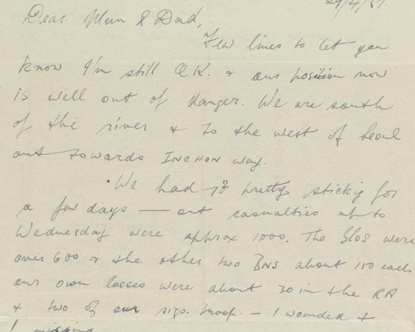 Letter from Lance-Corporal Arthur Stone, 45 Field Regiment, Royal Artillery, to his parents, 29 April 1951