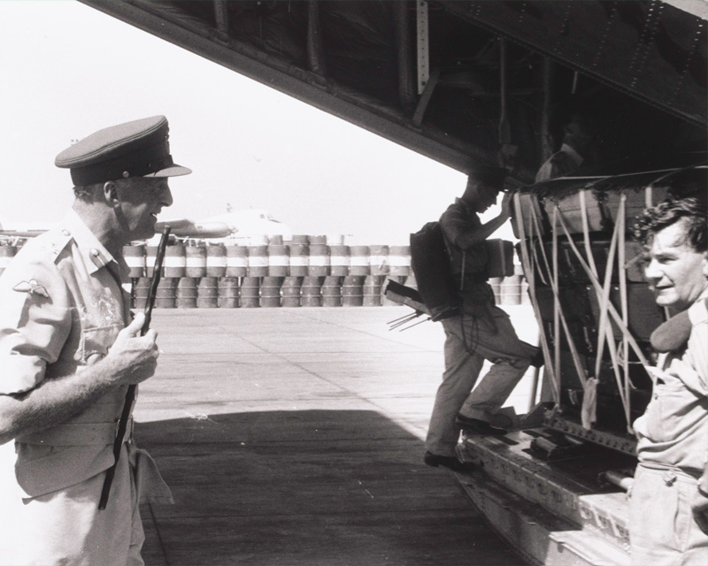 Major-General Philip Tower, General Officer Commanding Middle East Land Forces, leaves Aden, 1967
