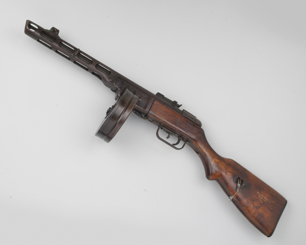 Russian PPSh-41 7.62 mm sub-machine gun used by North Korean and Chinese forces, c1950