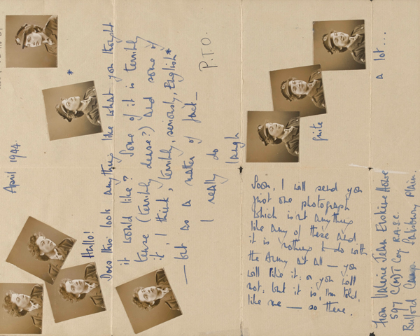 Letter covered in photographs of Valerie Howe sent to Major Anthony Ryshworth-Hill, April 1944