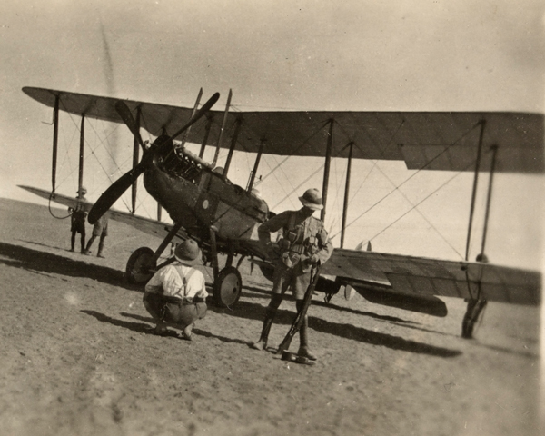 British soldiers inspect a BE2c biplane on the Palestine front, c1918