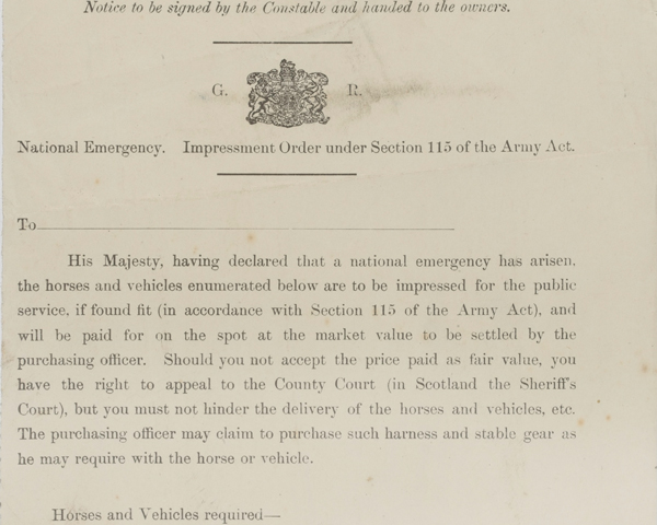Impressment order for the requisition of horses, c1914