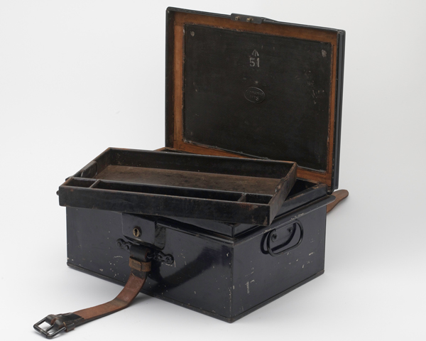 Stationary box for purchasing horses used by Dr Reginal Hill of the Army Remount Department , c1914