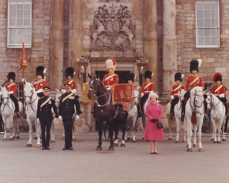 The Queen at The Royal Scots Dragoons Guards Tercentenary Parade, Edinburgh, 1978