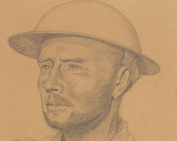 Colonel Hugh Richards, commander of the Kohima garrison, drawn during the siege, 1944