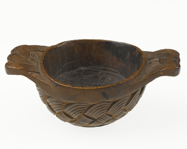 Quaich wooden highland bowl or drinking vessel used by a Jacobite soldier of the 1715 rising