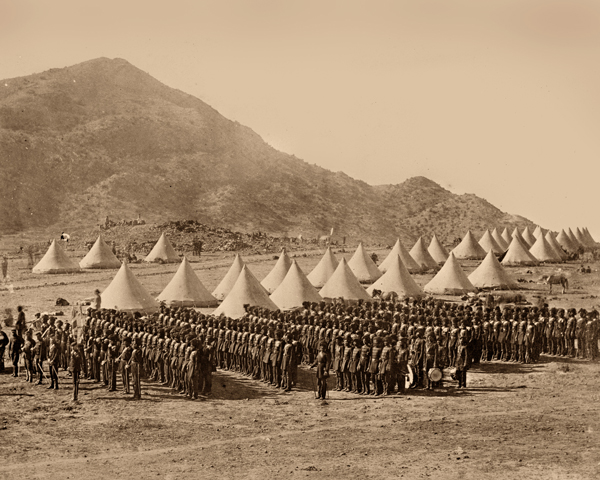 The Baluch Light Infantry formed up in camp in Abyssinia, 1868