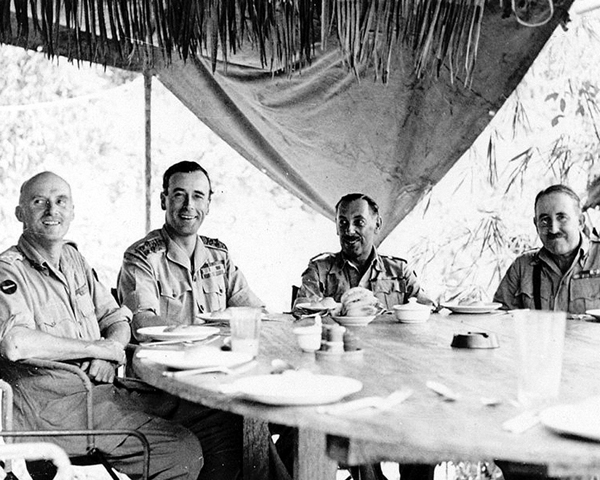 Admiral Lord Louis Mountbatten with senior army officers in Burma, February 1944
