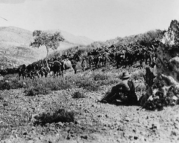 Australian cavalry waiting outside Nablus in Palestine, 1918