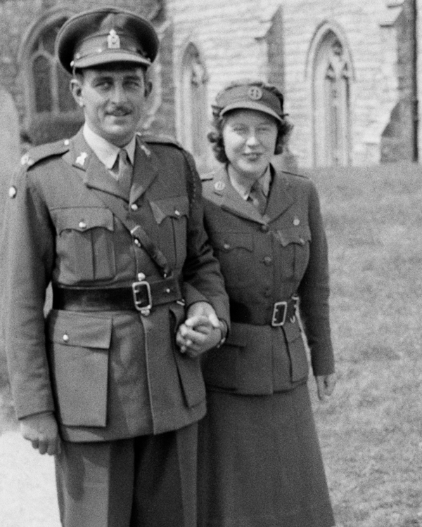 A bride and groom marrying in uniform, 1941